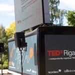 TEDxRiga 2012: outdoor screen with live video stream