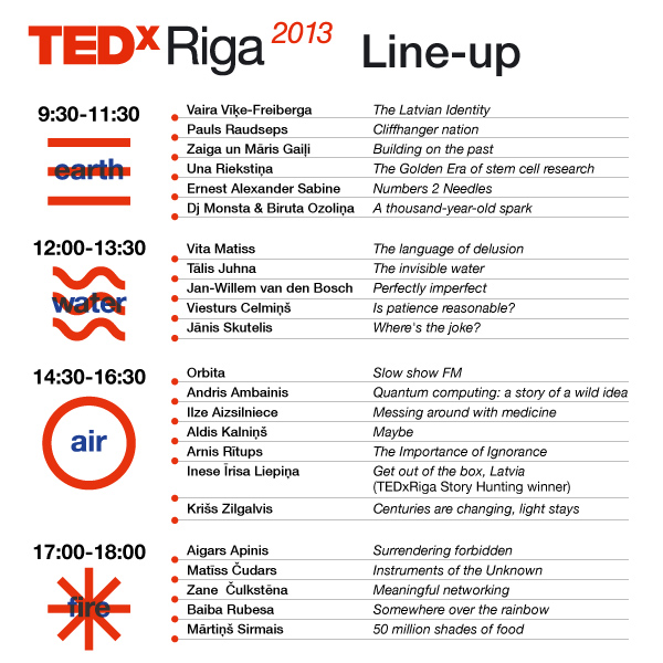 TEDxRiga 2013 session times
